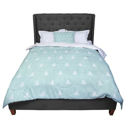 Snap Studio Pine Pattern Comforter Size: Queen, Color: Aqua/Blue