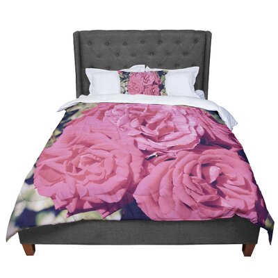 Susan Sanders Blush Blooming Roses Floral Photography Comforter Size: Queen