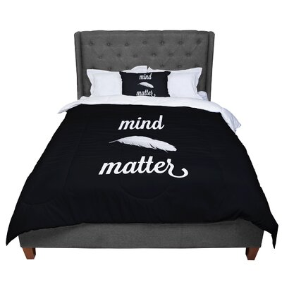 Skye Zambrana Mind Over Matter Comforter Size: King, Color: Black