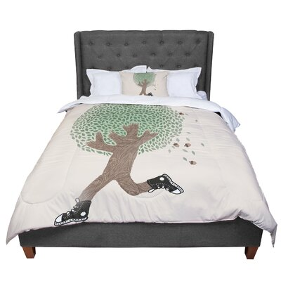 Tobe Fonseca Run for Your Life Tree Illustration Comforter Size: Queen