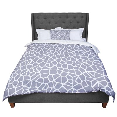 Trebam Staklo Comforter Size: King, Color: Gray White