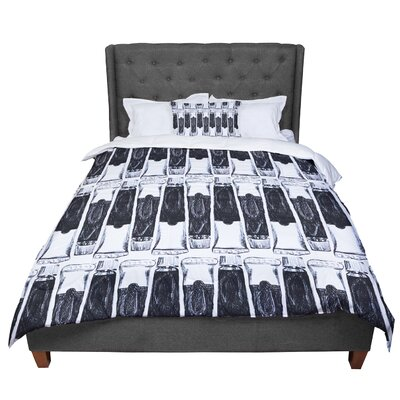 Theresa Giolzetti Paint Tubes Comforter Size: King, Color: Black/White