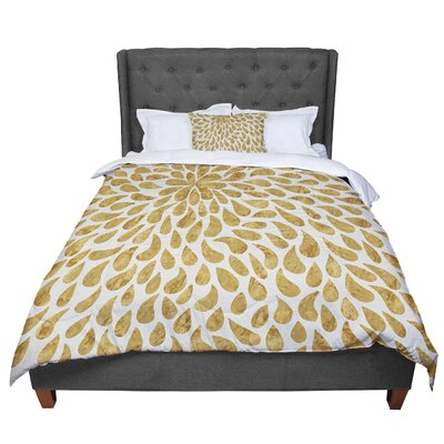 888 Design Abstract Golden Flower Comforter Size: Twin