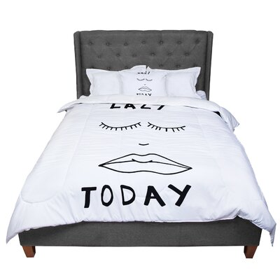 Vasare Nar Lazy Today Typography Comforter Size: Queen, Color: White