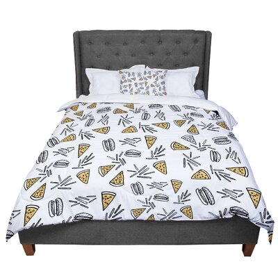 Vasare Nar Burgers and Pizza Food Comforter Size: Queen