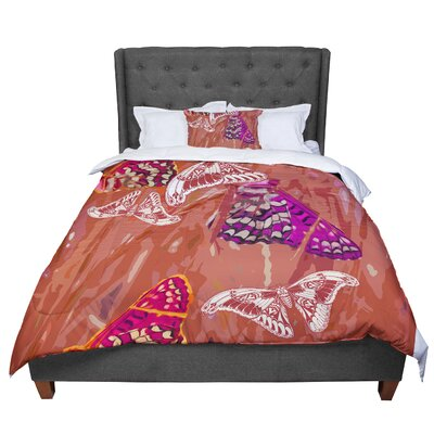 Vikki Salmela Butterflies Party Comforter Size: Queen, Color: Red/Orange