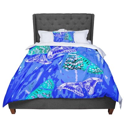 Vikki Salmela Butterflies Party Comforter Size: Queen, Color: Blue