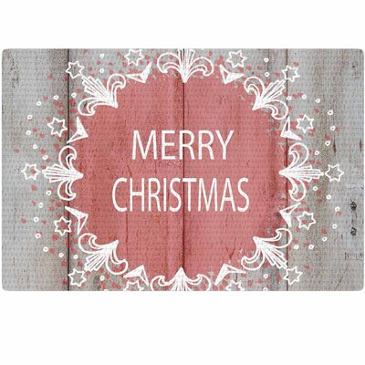 Suzanne Carter Merry Christmas Holiday Typography Pink/Natural Area Rug Rug Size: 2 x 3