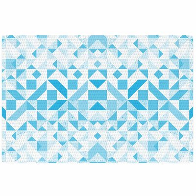 Vasare Nar Light Geometric Digital Blue Area Rug Rug Size: 4 x 6