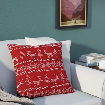 Christmas Deer Throw Pillow Size: 26 H x 26 W x 7 D