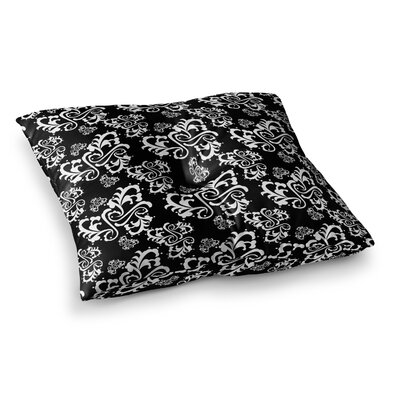 Sweetheart Damask Pattern by Mydeas Floor Pillow Size: 26 x 26, Color: White/Black