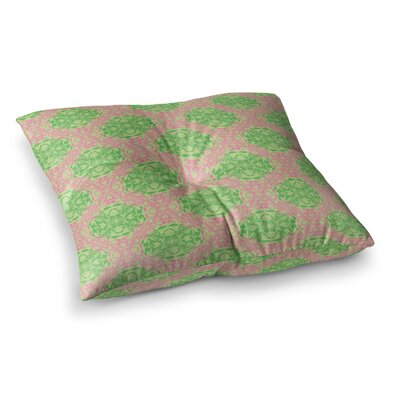 Diamond Illusion Damask by Mydeas Floor Pillow Size: 23 x 23, Color: Pink/Green