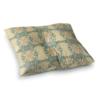Fancy Damask by Mydeas Floor Pillow Size: 23 x 23, Color: Teal/Brown