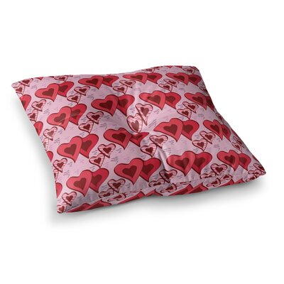Scribbled Hearts Pattern Vector by Mydeas Floor Pillow Size: 23 x 23