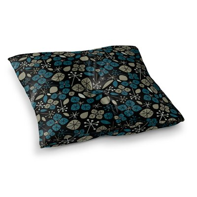 Leaf Scatters Midnight by Allison Beilke Floor Pillow Size: 26