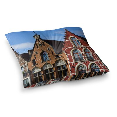 Inbruges City Street by Ann Barnes Floor Pillow Size: 26 x 26