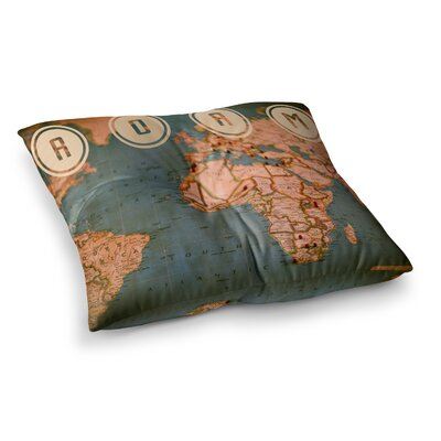 Roam II World Map by Ann Barnes Floor Pillow Size: 23 x 23