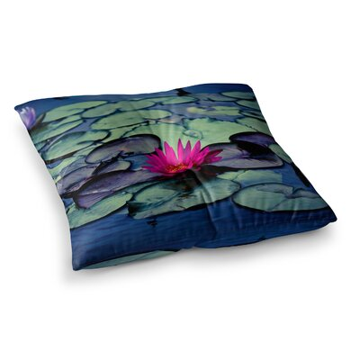 Twilight Water Lily by Ann Barnes Floor Pillow Size: 23 x 23