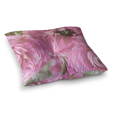 Paris Postcard Flowers by Ann Barnes Floor Pillow Size: 23 x 23