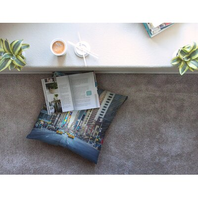 Sunset Over 7th Urban Photography by Ann Barnes Floor Pillow Size: 23 x 23