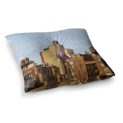 Vintage NYC Cityscape by Ann Barnes Floor Pillow Size: 26 x 26