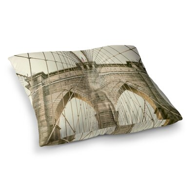 Brooklyn Bridge Sunset Photography by Ann Barnes Floor Pillow Size: 23 x 23