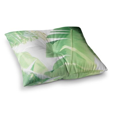Banana Leaf by Ann Barnes Floor Pillow Size: 23 x 23, Color: Green/White