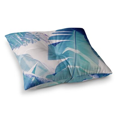 Banana Leaf by Ann Barnes Floor Pillow Size: 26 x 26, Color: Green/Blue