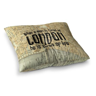 London Type Map by Alison Coxon Floor Pillow Size: 26 x 26