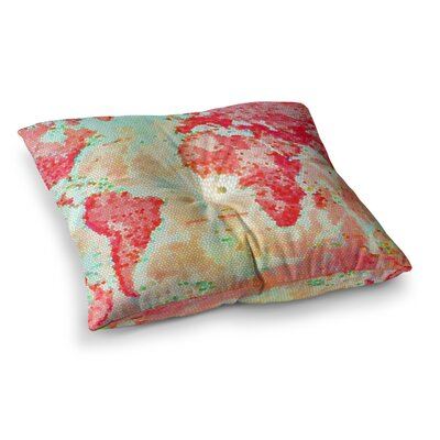 Oh the Places Well Go World Map by Alison Coxon Floor Pillow Size: 26 x 26