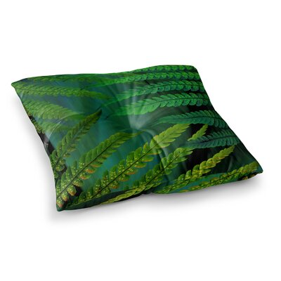 Forest Fern by Alison Coxon Floor Pillow Size: 23 x 23, Color: Green