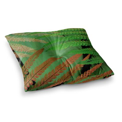 Forest Fern by Alison Coxon Floor Pillow Size: 26 x 26, Color: Green/Brown/Russet