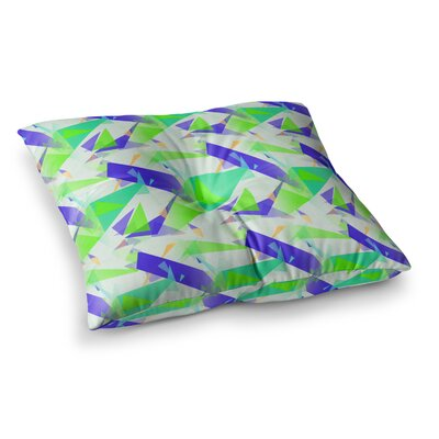 Confetti Triangles by Alison Coxon Floor Pillow Size: 26 x 26, Color: Teal/Green/Blue