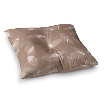 Leaf by Alison Coxon Floor Pillow Size: 26 x 26, Color: Beige/Brown