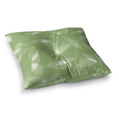 Leaf by Alison Coxon Floor Pillow Size: 23 x 23, Color: Olive/Green