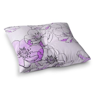 Painted Wild Roses Floral by Alison Coxon Floor Pillow Size: 26 x 26, Color: Pink/Purple
