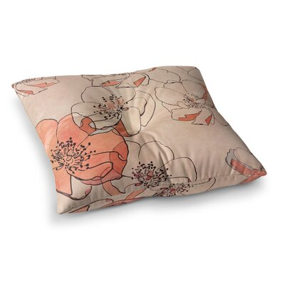 Painted Wild Roses Floral by Alison Coxon Floor Pillow Size: 26 x 26, Color: Coral