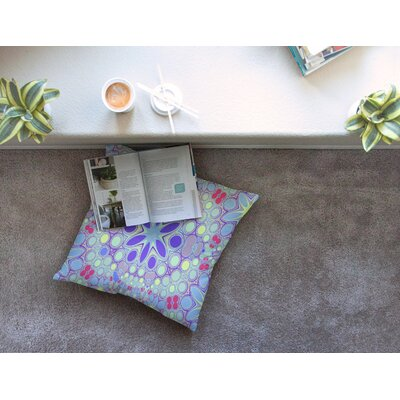 Hippy Flowers Kaleidoscope by Alison Coxon Floor Pillow Size: 23 x 23