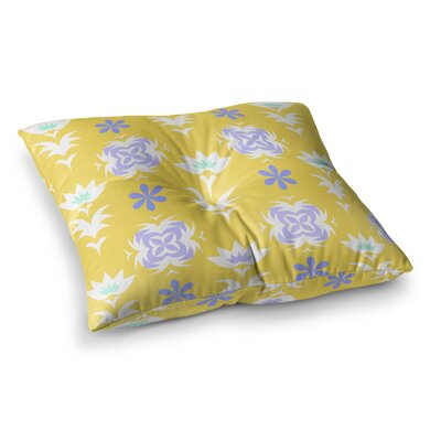 Edwardian Tile by Alison Coxon Floor Pillow Size: 26 x 26, Color: Yellow/White