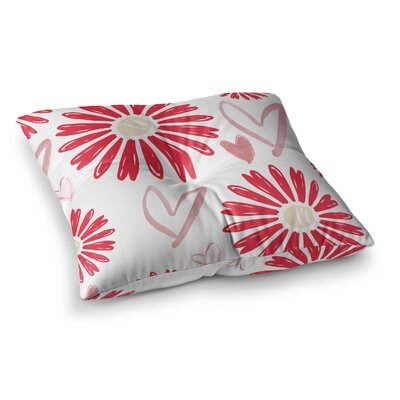 Hearts and Flowers Love by Alison Coxon Floor Pillow Size: 26 x 26