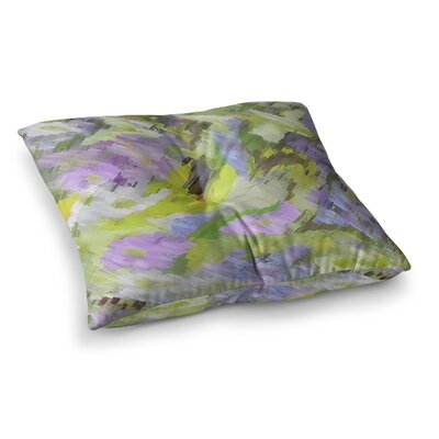 Giverny by Alison Coxon Floor Pillow Size: 23 x 23, Color: Yellow/Lilac