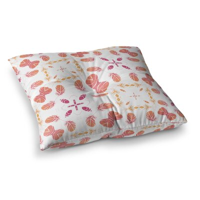 Aztec Feather Repeat Digital by Alison Coxon Floor Pillow Size: 26 x 26