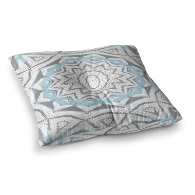 Plant House Mandala Digital by Alison Coxon Floor Pillow Size: 26 x 26, Color: Coral/Blue