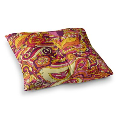 Birds in Garden by Alisa Drukman Floor Pillow Size: 23 x 23, Color: Orange