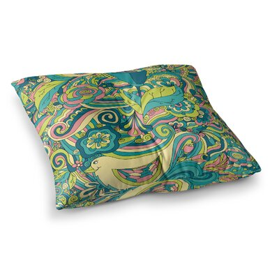 Birds in Garden by Alisa Drukman Floor Pillow Size: 26 x 26, Color: Teal/Green