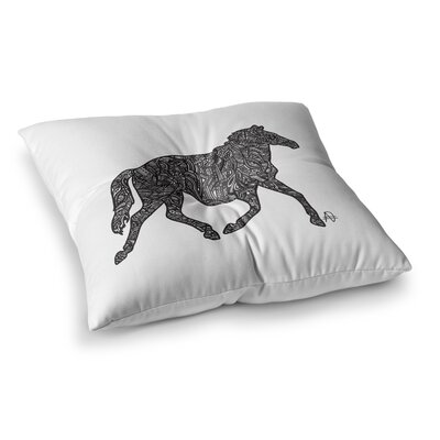 Horsie Horse Illustration by Adriana De Leon Floor Pillow Size: 26 x 26