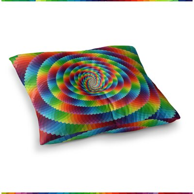Rainbow Spectrum Spirograph Digital by Ancello Floor Pillow Size: 23 x 23
