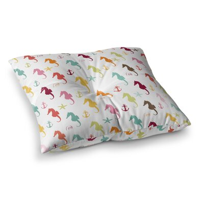 Colorful Seahorse Pattern Illustration by Afe Images Floor Pillow Size: 26 x 26