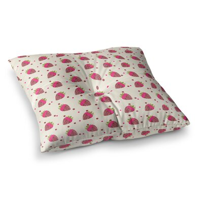 Strawberries Pattern Digital by Afe Images Floor Pillow Size: 26 x 26