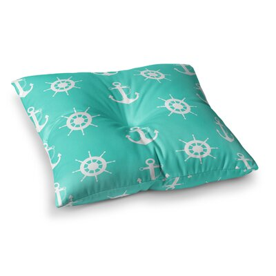 Anchor and Helm Wheel Illustration by Afe Images Floor Pillow Size: 23 x 23